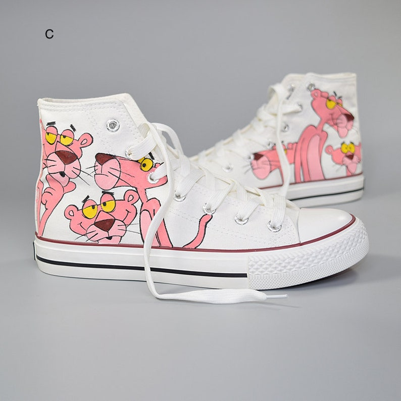 Pink Panther Cartoon Hand-Painted Shoes comics Converse style  7911cb3a5