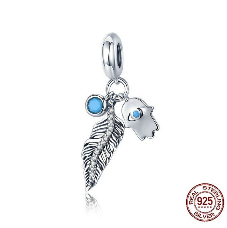 901c4d65b4e0d Bohemian Feather And Hamsa Hand Blue Eye Pendant Charm bead 100% Authentic  925 Sterling Silver Charms Fits European Pandora Charm Bracelet