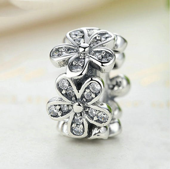 Floral Crystal CZ Flowers Spacer Glamour Charms Bead Fit European 925 Bracelet