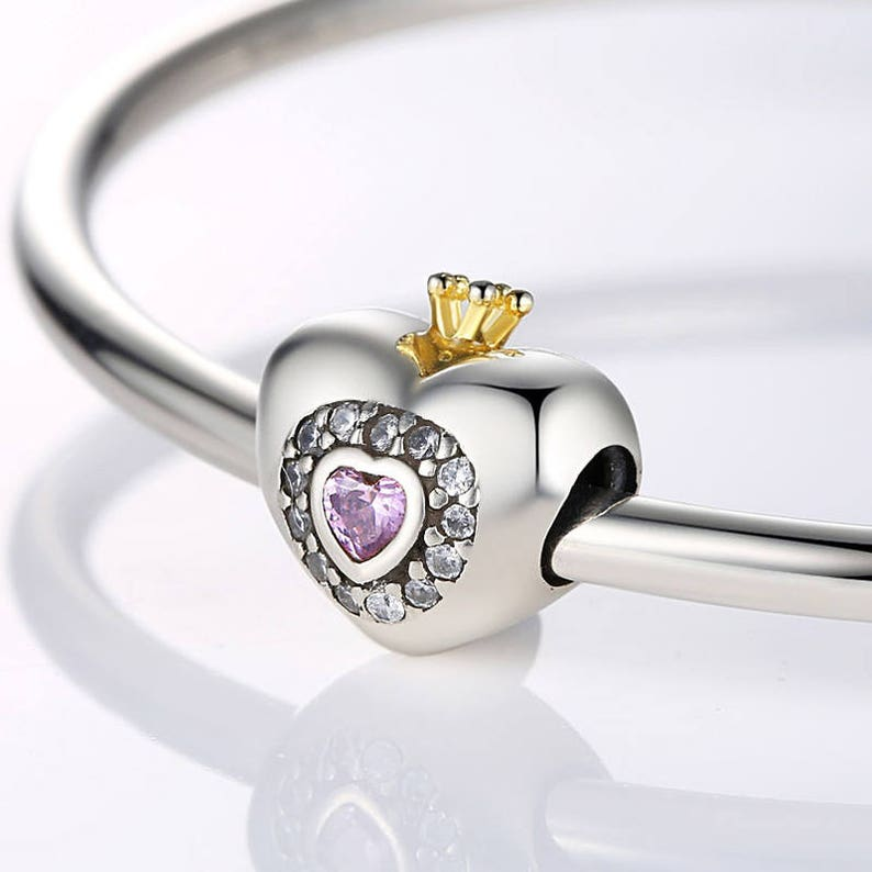 d66b7faefeb81 Princess Heart With Pink CZ and crown gold silver Beads charms 100% 925  Sterling Silver fit for Authentic pandora and european bracelets