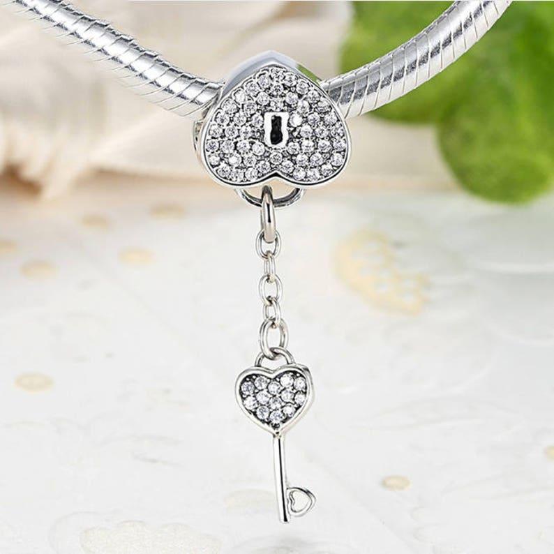 79f7f32b5 Lock Of Love padlock silver Beads with key padlock necklace | Etsy