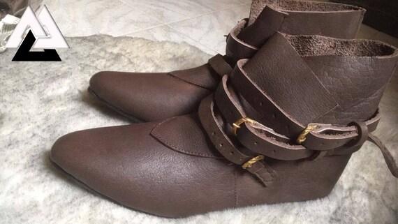Mittelalterliche Lederschuhe Herren Leder kurze Stiefel braun Larp Schuhe, Wikinger Schuhe für Larp und Reenactment