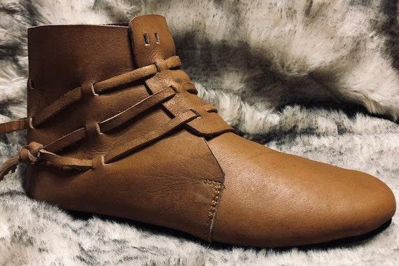 JORGEN Schuhe, mittelalterliche Stiefel, braun braun Licht kurze Lederstiefel, Larp.