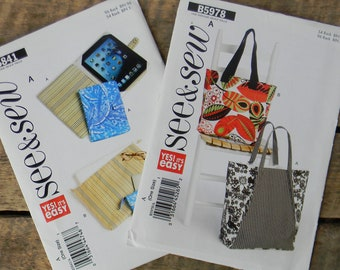 See & Sew Patterns - Totes and Wallets - Easy to Sew New Old Stock Patterns - Lot of 2