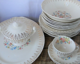 Homer Laughlin 19pc Georgian China Serving Pieces - Floral with Gold Pattern - 1944