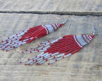Hand Beaded Native American Earrings - Cherokee - Freench Hooks - Vintage
