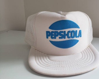 5cb8160a969de Vintage Pepsi Snapback Trucker Hat - 1980s Dad Hat White with Blue Puffy  Logo