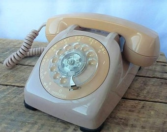 1980s Automatic Electric Pink Beige Rotary Telephone
