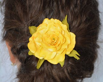 Yellow brooch etsy yellow jewelry yellow flower christmas gifts for womans yellow rose flower hair clip flower girl gift flower brooch hair jewelry flower clip mightylinksfo
