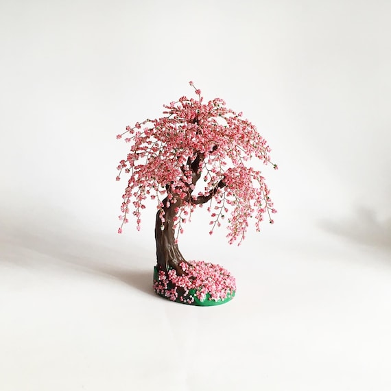 Cherry Blossom Bonsai Tree Office Decor Wire Tree Sculpture Etsy