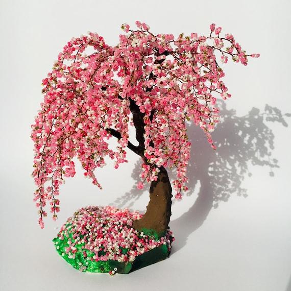 Cherry Blossom Bonsai Tree Office Decor Wire Tree Sculpture Etsy