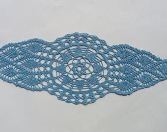 handmade crochet doily, blue doily, runner doily