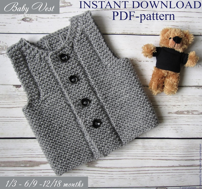 3237fa106 PDF pattern Knit baby vest DIY Baby waistcoat Instant Download | Etsy