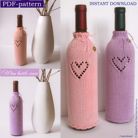 Pdf Pattern Knitting Pattern Wine Bottle Cover Instant