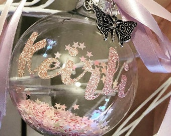Personalised Pink Glass Bauble Embellished with a Silver Butterfly and Pink Confetti