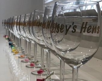 Champagne Flute / Wine Glass Decals Wedding Party Hashtag # Large