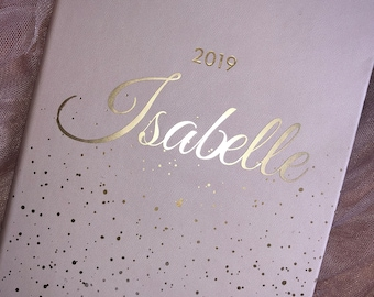 Personalised A5 2019 Diary Pink with Gold Accents - Teachers Gift
