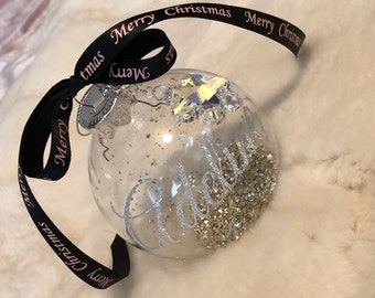 Limited Edition Personalised Glass Bauble Embellished with Snowflake Crystal from Swarovski®