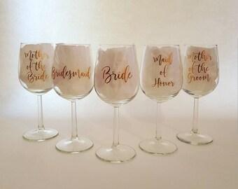 Wedding Party Wine Glass Decals