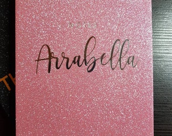 Personalised Pink Glitter Notebook with Silver Lettering A5/96 Pages