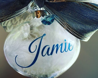 I Miss You Teardrop Personalised Bereavement Glass Bauble Embellished with heart crystal from Swarovski®, Ceramic Wings and White Feathers