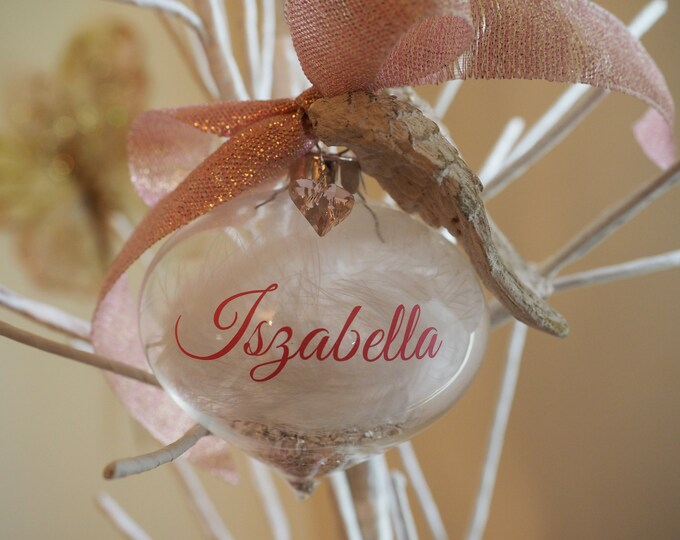 I Miss You Pink Teardrop Personalised Bereavement Glass Bauble Embellished w heart crystal from Swarovski®, Ceramic Wings & White Feathers