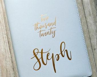 Personalised B5 2019 Personal Organiser / Week Planner Powder Blue with Gold Accents