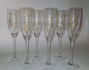 Wedding Party Champagne Flute Decals