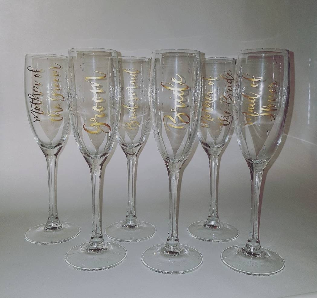 6e0dd6a06d2 Wedding Party Champagne Flute Decals