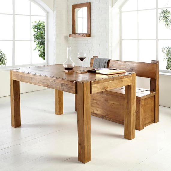 Industrial Rustic Solid Wood Dining Table, Custom Made Dining Table, Rivet  Dining Table, Rustic Dining table