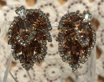Weiss Clip Earring, Crystal Leaf Design