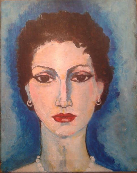 Schilderij Acryl Op Canvas Handgeschilderd Portret Vrouw Kees Van Dongen Parijs Fauvisme Modern