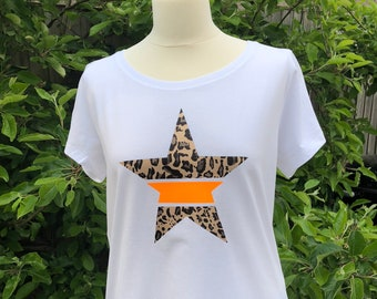 Star t-Shirt, Neon Star, Neon Leopard star t-shirt, white t-shirt, short sleeved t-shirt, slogan t-shirt, fitted t-shirt, tops and tees