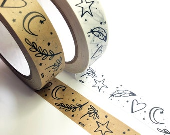 Illustrated Brown or White Kraft Paper Sticky Tape, Printed Adhesive Eco Packing Parcel Tape 50m roll, 24mm wide, Recyclable Eco Friendly UK