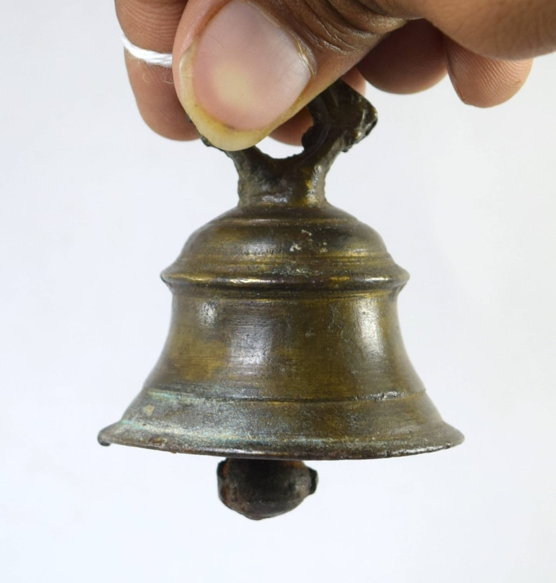 Old Indian Antique Brass Cow Bell Heavy Hand Crafted Asian Traditional Ornament Asian Antiques Antiques