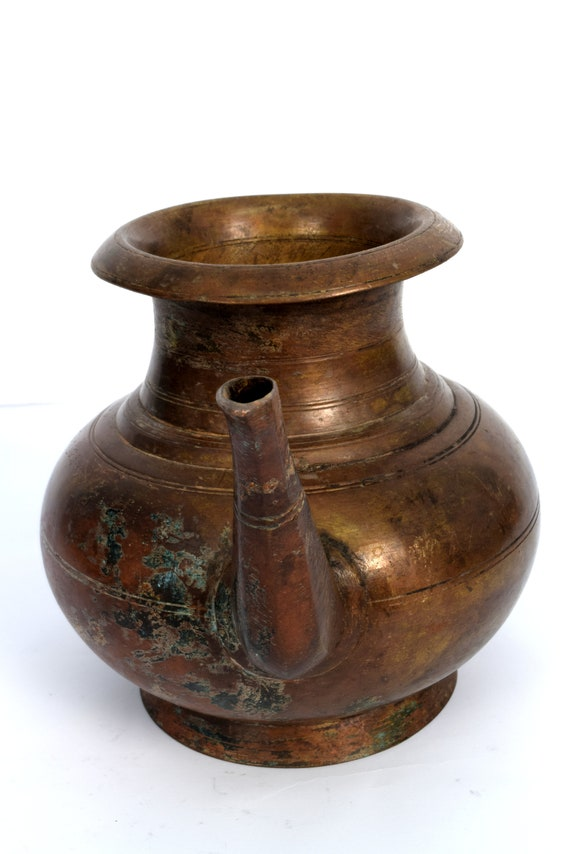Large Antique Heavy Water Pot  Vessel with Spout Made in India Signed Mixed Metal Copper