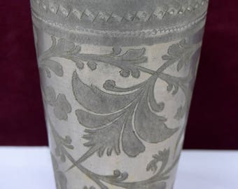 Rare Hand Engraved Vintage Kitchenware Brass Lassi Cup / Glass,Brass Lassi Cup With Floral Design, Brass Beaker Highly Decorative. G66-223