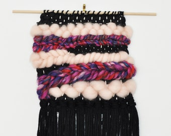 Handwoven Wall Hanging Art Weaving - black, pink, multicoloured FREE SHIPPING
