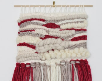Handwoven Wall Hanging Art Weaving - raspberry red, taupe and white FREE SHIPPING
