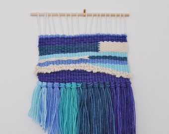 Handwoven Wall Hanging - Weaving in purple, blue, aqua FREE SHIPPING