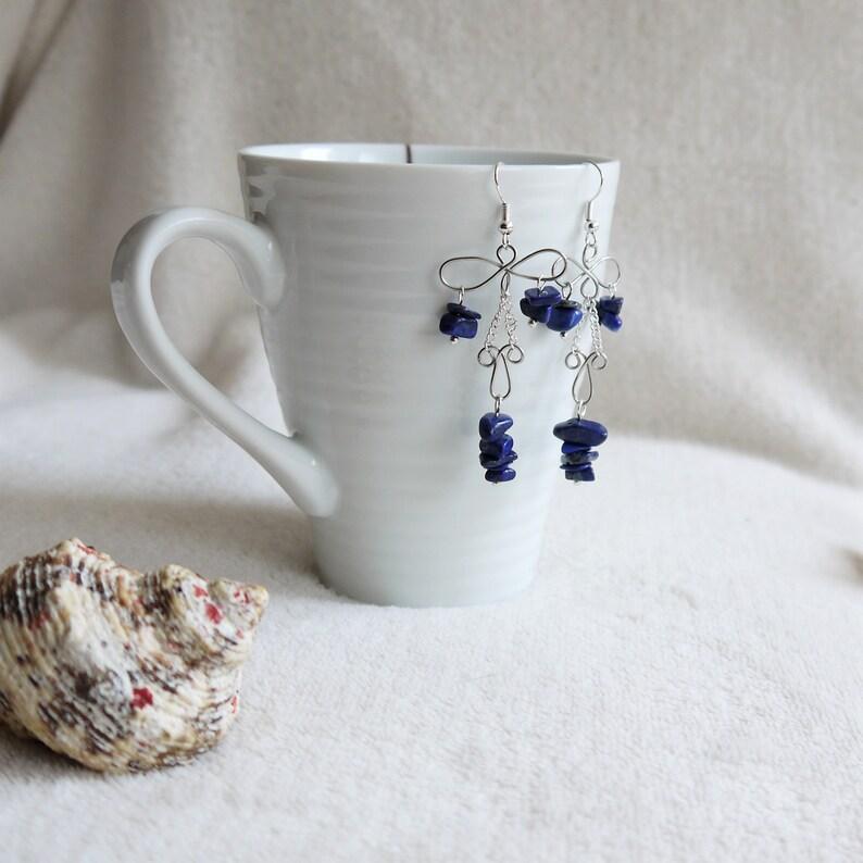 unusual boho statement silver earrings Lapiz lazuli blue gemstone wire chandelier earrings mother sister cousin friend gift