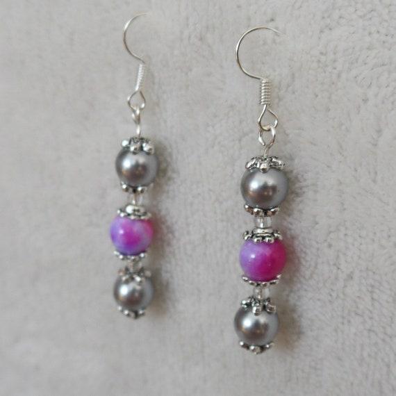 e7a44c7b6d342 Purple silver simple everyday drop earrings, dangling casual earrings, cute  elegant formal earrings, mum cousin sister gift, girlfriend gift