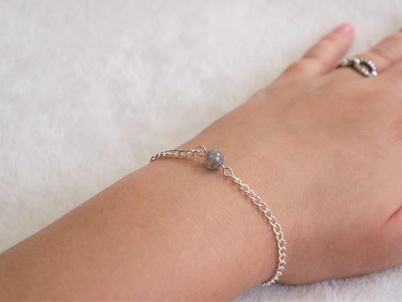 gemstone delicate feminine dainty minimalist simple natural healing energy jewelry Purple jade charm silver chain larger wrist bracelet
