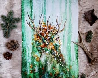 Green Man Poster,Art Print,Print,Fairy Print,Green Man Print,Illustration,Fairytale Print,Green Man Art Print,Holly King Print,Holly King