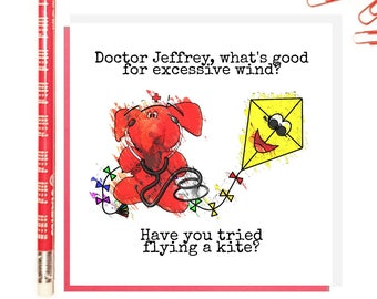 Jeffrey Elefanté   Greeting Card   Funny Card   Doctor   Kite   Pun   Elephant   Cute   Funny   Joke   Square Greeting Card