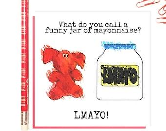 Jeffrey Elefanté   Greeting Card   Funny Card   Elephant   Cute   Mayonnaise   LMAO   Funny   Joke   Square Greeting Card