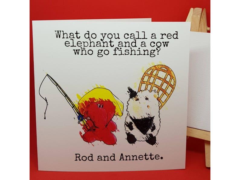 Jeffrey Elefanté   Greeting Card   Fishing   Funny Card   Elephant   Cow    Names   Pun   Cute   Funny   Joke   Square Greeting Card