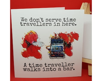Jeffrey Elefanté   Greeting Card   Time Travel   Puns   Bar   Waiter   Funny Card   Elephant   Cute   Funny   Joke   Square Greeting Card