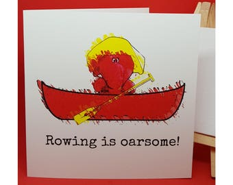 Jeffrey Elefanté   Greeting Card   Funny Card   Rowing   Elephant   Cute   Funny   Joke   Square Greeting Card