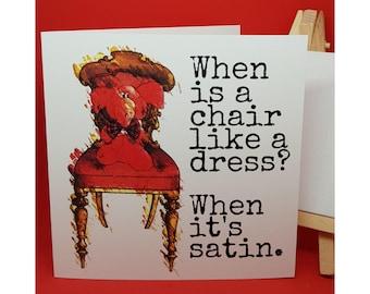 Jeffrey Elefanté   Greeting Card   Dress   Chair   Pun   Satin   Funny Card   Elephant   Cute   Funny   Joke   Square Greeting Card